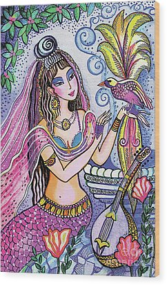 Wood Print featuring the painting Scheherazade's Bird by Eva Campbell