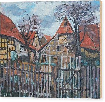Scheunen Am Ortsrand Lienzingen Wood Print