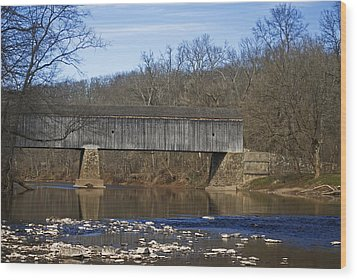 Schofield Ford Covered Bridge Wood Print by Elsa Marie Santoro
