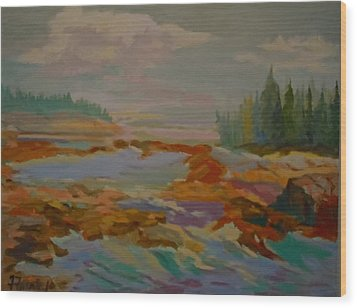 Wood Print featuring the painting Schoodic Inlet 2 by Francine Frank