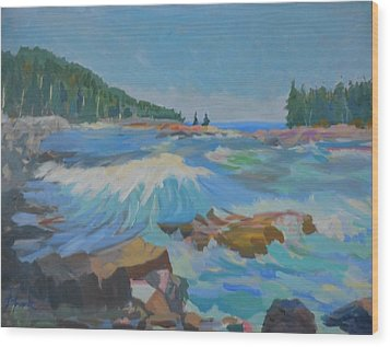 Wood Print featuring the painting Schoodic Inlet by Francine Frank