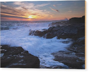 Schoodic Seas Wood Print by Patrick Downey