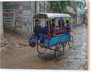 School Cart Wood Print