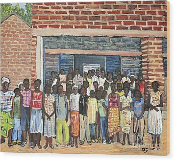 School Class Burkina Faso Series Wood Print by Reb Frost