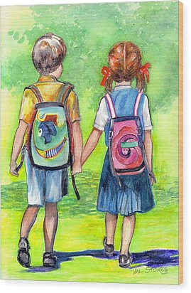 Schooldays Wood Print by Val Stokes