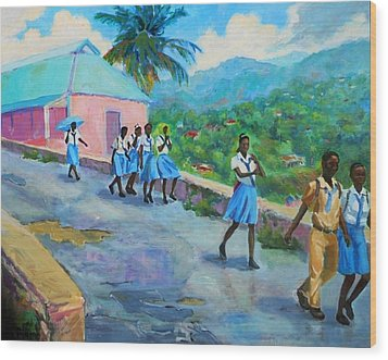 School's Out In Jamaica Wood Print by Margaret  Plumb