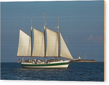 Schooner By Fort Sumter Wood Print by Sally Weigand