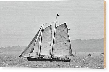 Schooner On New York Harbor No. 3-1 Wood Print by Sandy Taylor