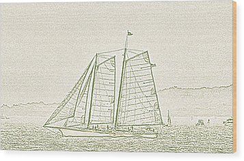 Schooner On New York Harbor No. 3-2 Wood Print