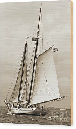 Schooner Sailboat Spirit Of South Carolina Sailing Wood Print by Dustin K Ryan