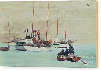 Schooners At Anchor In Key West Wood Print by Winslow Homer