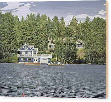 Wood Print featuring the painting Schultz Summer Home Muskoka by Kenneth M Kirsch