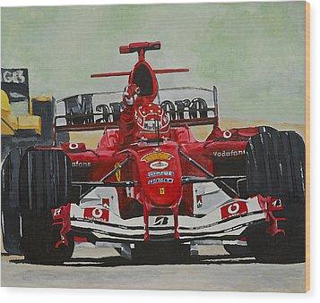 Schumacher Wins Wood Print by Terry Gill