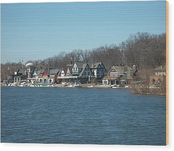 Wood Print featuring the photograph Schuylkill River - Boathouse Row In Philadelphia by Bill Cannon