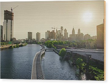 Wood Print featuring the photograph Schuylkill River Walk At Sunrise by Bill Cannon