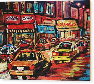 Schwartz's Deli At Night Wood Print by Carole Spandau