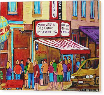 Schwartzs Hebrew Deli Montreal Streetscene Wood Print by Carole Spandau