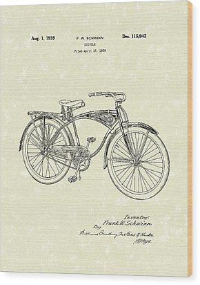 Schwinn Bicycle 1939 Patent Art Wood Print by Prior Art Design