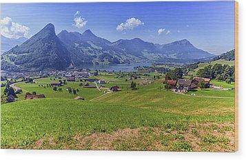 Schwyz And Zurich Canton View, Switzerland Wood Print by Elenarts - Elena Duvernay photo