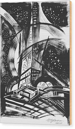 Sci Fi City Wood Print by Yelena Tylkina
