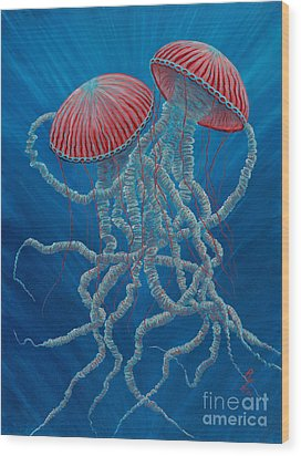 Scifi Jellies Wood Print by Rebecca Parker