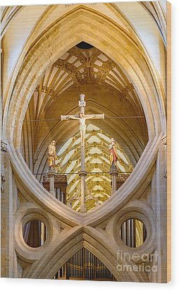Scissor Arches, Wells Cathedral Wood Print by Colin Rayner