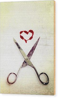 Scissors And Heart Wood Print by Joana Kruse