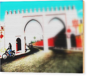 Scootering Through A Medina Gate  Wood Print by Funkpix Photo Hunter