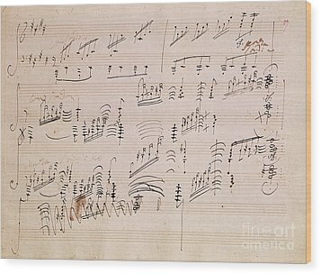 Score Sheet Of Moonlight Sonata Wood Print by Ludwig van Beethoven