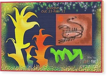 Wood Print featuring the digital art Scorpio by The Art of Alice Terrill