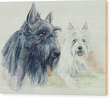 Scottie And Westie Wood Print by Morgan Fitzsimons
