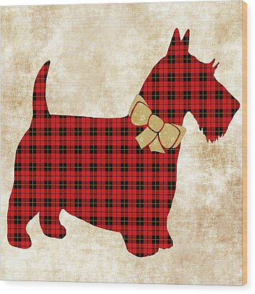 Wood Print featuring the mixed media Scottie Dog Plaid by Christina Rollo