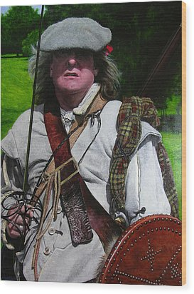 Wood Print featuring the painting Scottish Soldier Of The Sealed Knot At The Ruthin Seige Re-enactment by Harry Robertson