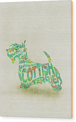 Wood Print featuring the painting Scottish Terrier Dog Watercolor Painting / Typographic Art by Inspirowl Design
