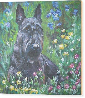 Scottish Terrier In The Garden Wood Print by Lee Ann Shepard