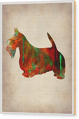 Scottish Terrier Watercolor 2 Wood Print by Naxart Studio