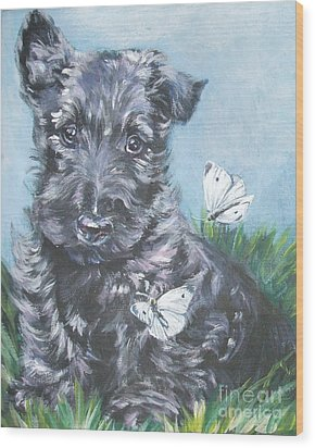 Scottish Terrier With Butterflies Wood Print by Lee Ann Shepard
