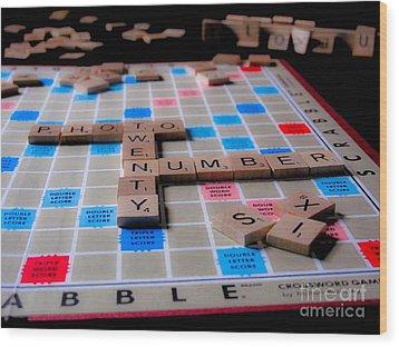 Scrabble Wood Print by Valerie Morrison