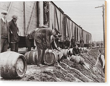 Scranton Police Dumping Beer During Prohibition  Scranton Pa 1920 To 1933 Wood Print