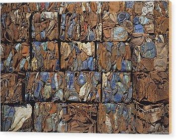 Scrap Metal Bales Wood Print by Dirk Wiersma