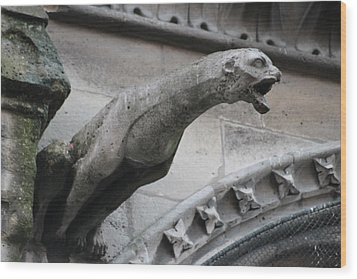 Wood Print featuring the photograph Screaming Griffon Notre Dame Paris by Christopher Kirby