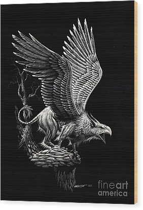 Screaming Griffon Wood Print by Stanley Morrison