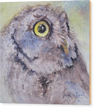 Wood Print featuring the painting Screech Owl by Bonnie Rinier