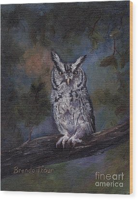 Wood Print featuring the painting Screech Owl by Brenda Thour
