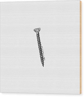 Screw Wood Print by Karl Addison