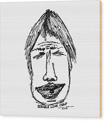 Scribble Line Face Wood Print by Karl Addison