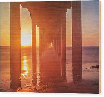 Scripps Pier Sunset Wood Print