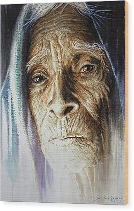 Wood Print featuring the painting Scripts Of Ancestral Light  by J- J- Espinoza