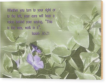Scripture In Pastle Floral Wood Print by Linda Phelps