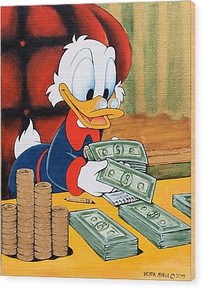 Scrooge Mcduck Counting Money Wood Print